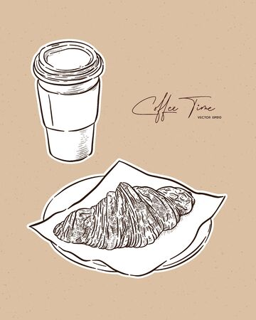Croissant and coffe, hand draw sketch vector.
