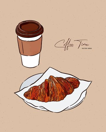 Croissant and coffe, hand draw sketch vector. Imagens - 138700751