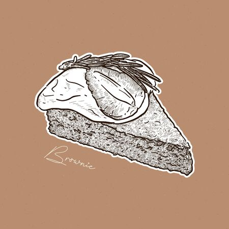 slice of brownie,on top with cream, strawberry and rosemarry. hand draw sketch vector. Ilustração
