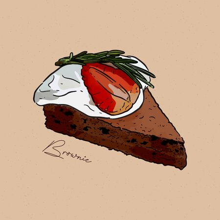 slice of brownie,on top with cream, strawberry and rosemarry. hand draw sketch vector. Vectores