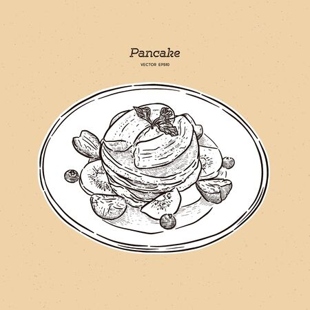pancakes, pastries, sweets, tasty Breakfast in the vector graphics, hand-drawn sketch vector. Imagens - 138700910
