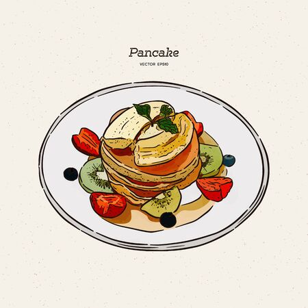 pancakes, pastries, sweets, tasty Breakfast in the vector graphics, hand-drawn sketch vector.