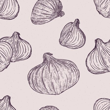 Red onion, seamless pattern. Hand draw sketch vector.