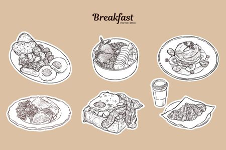 Breakfast brunch healthy start day options food collection with american breakfast style, omlette, egg in toast, smoothie bowl, pancake and coffee with crossiant. Hand draw sketch vector illustration