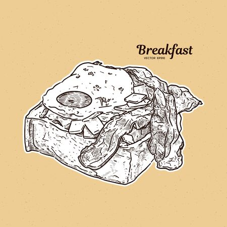 Breakfast in toast with eggs and bacon. hand draw sketch vector.