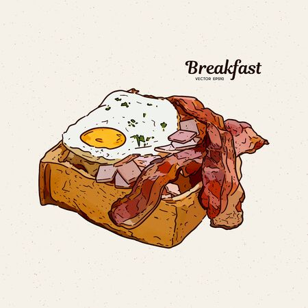Breakfast in toast with eggs and bacon. hand draw sketch vector. Imagens - 139263282