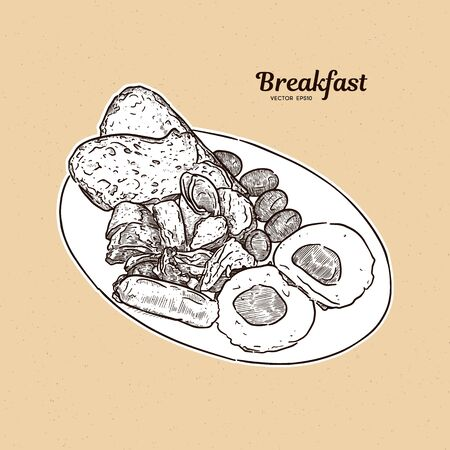 Breakfast plate with sausages, eggs, ham, toast, grilled potatoes and bacon. hand draw sketch vector.