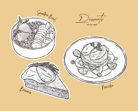 Set of dessert, smoothie bowl, pancake and brownie on top with varities fruit. hand draw sketch vector. Imagens - 139263353