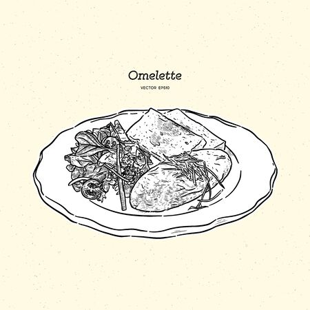 omelette with cheese , salad and toasts. Breakfast, hand draw sketch vector. Ilustração