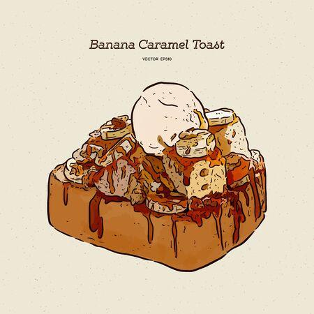 Banana caramel toast with ice-cream, hand draw sketch vector. Ilustración de vector