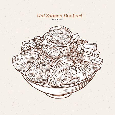 Uni salmon Donbuti, hand draw sketch japanese food.