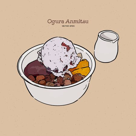 Ogura Anmitsu, anmitsu with a scoop of homemade azuki ice cream which comes with slightly bitter Okinawa brown sugar syrup. Hand draw sketch vector.