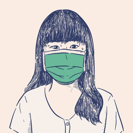 Protection against contagious disease, coronavirus. Woman wearing hygienic mask to prevent infection, airborne respiratory illness such as flu, 2019-nCoV. Hand draw sketch vector.
