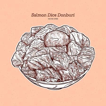 Salmon diced rice bowl, hand draw sketch vector. Ilustração