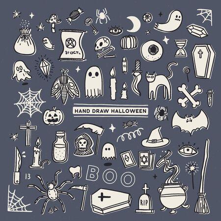 set of Halloween doodle vector.  Ilustração