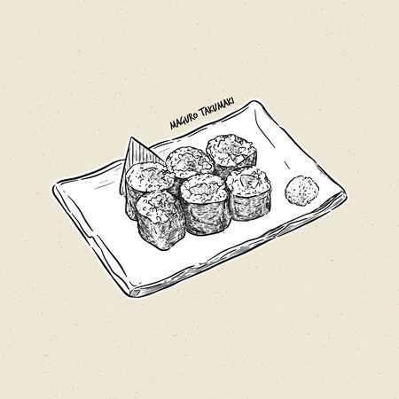 maguro taku maki, hand draw sketch vector. Japanese food 向量圖像