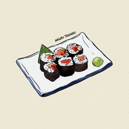 maguro taku maki, hand draw sketch vector. Japanese food