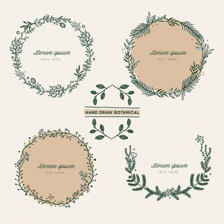 Set of hand draw botanic frame.