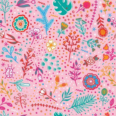 Hand draw botanic, seamless pattern vector. 向量圖像