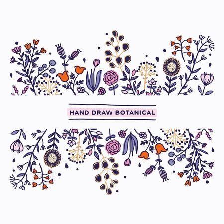 Hand draw botanic, sketch vector.