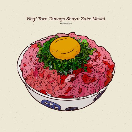 Negi Toro Tamago Shoyu Zuke Meshi Donburi, hand draw sketch vector.