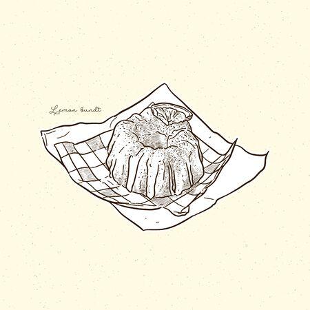 Lemon bundt cake, hand draw sketch vector.