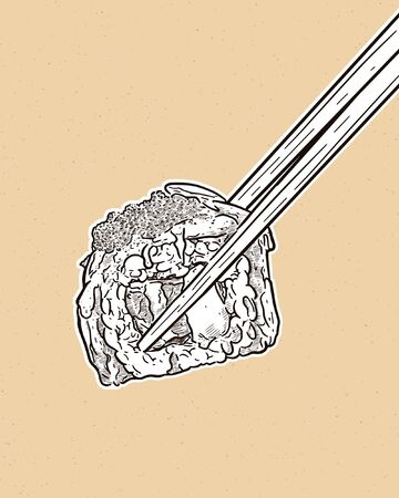 Holding chopsticks and sushi roll, hand draw sketch vector