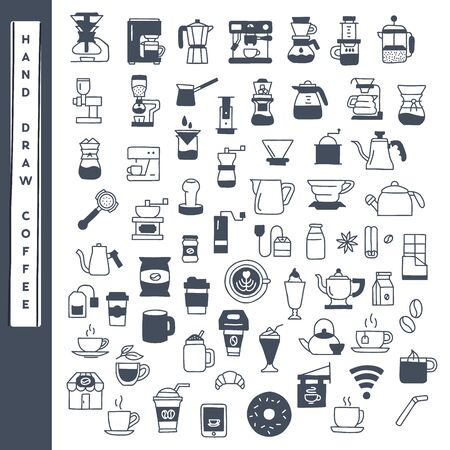 Hand draw coffee icon vector set.