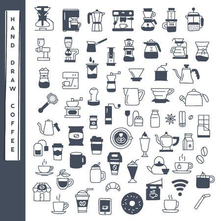 Main dessiner ensemble de vecteurs d'icônes de café.