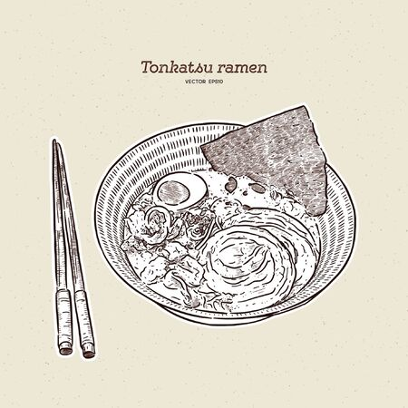 Rich and creamy tonkotsu ramen with chashu and egg, hand draw sketch vector. Japanese food.
