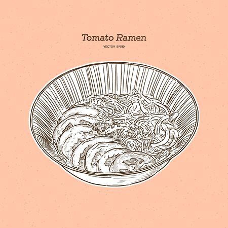 Tomato ramen for vegeterian, hand draw sketch vector.