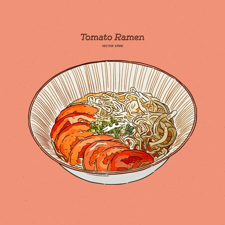 Tomato ramen for vegeterian, hand draw sketch vector.