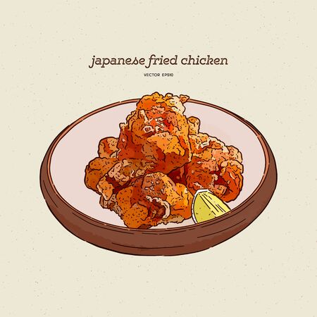 Japanese food,Karaage,Fried chicken japanese style. Hand draw sketch vector.