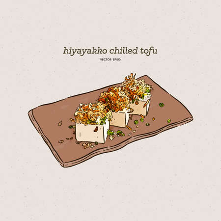 Hiyayakko is Japanese chilled tofu that is served as an appetizer, hand draw sketch vector.