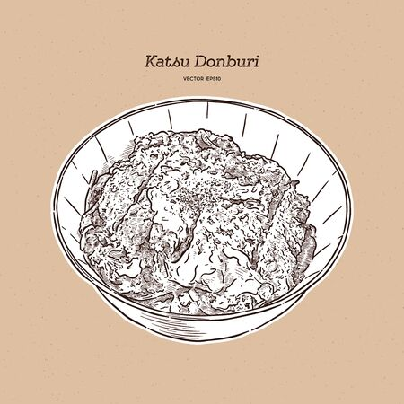 Katsudon is a popular Japanese food, a bowl of rice topped with a deep-fried pork cutlet, egg, vegetables, and condiments. Hand draw sketch vector.
