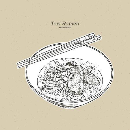 Tori ramen (chicken soup), hand draw sketch vector.