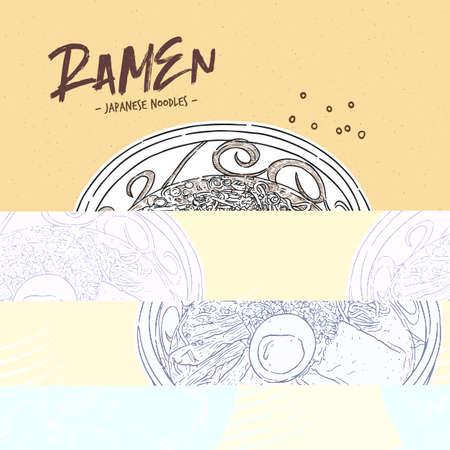 Shoyu ramen, hand draw sketch vector.  イラスト・ベクター素材