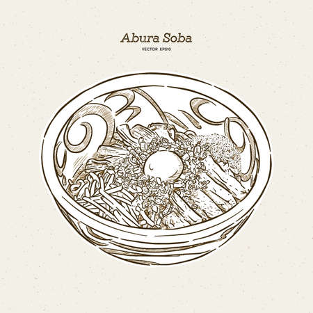 Abura soba. Toppings include eggs, sliced chashu pork, Fish meal, bamboo shoots and scallion. Hand draw sketch vector.