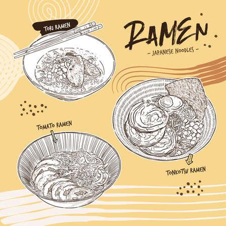 Ramen collection, hand draw sketch vector.