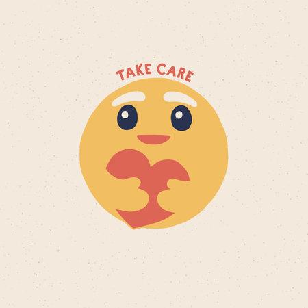take cae emoji, hand draw vector.