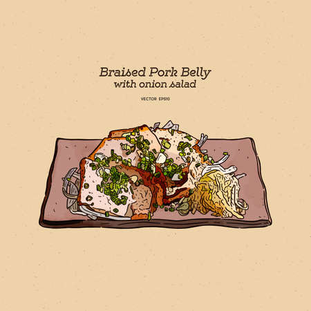 braised pork belly with onion salad, hand draw sketch vector.