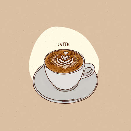 a cup of latte, hand draw sketch vector.  イラスト・ベクター素材