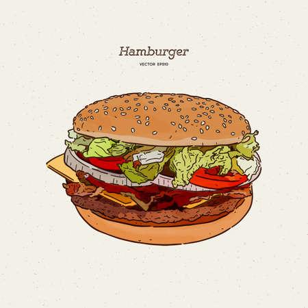 Hand drawn illustration of hamburger.  イラスト・ベクター素材