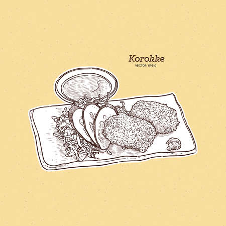 """Japanese Potato Croquettes, or """"Korokke"""" as they are called in Japanese, is a delicious fried food made from panko-crumbed mashed potato with carrot, onion, and mince. Hand draw sketch vector.  イラスト・ベクター素材"""