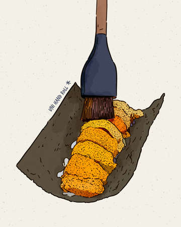 Omakase Uni - fresh sweet uni sashimi of dried seaweed, Japanese traditional food. hand draw sketch vector.