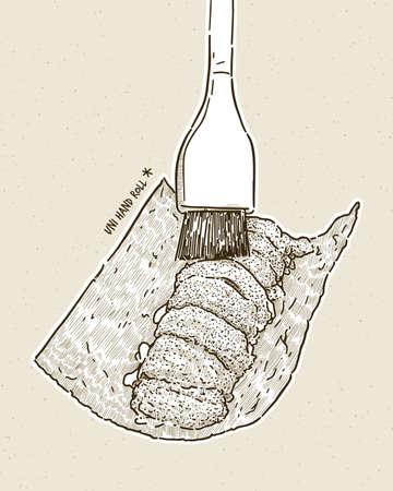 Omakase Uni - fresh sweet uni sashimi of dried seaweed, Japanese traditional food. hand draw sketch vector.
