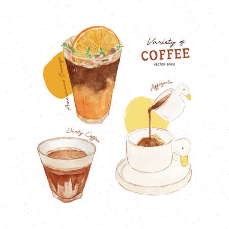 Variety of coffee, Amerucano Orange, Dirty coffee and affogato. hand draw watercolor vector. 写真素材
