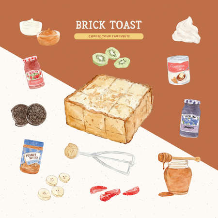 Brick toast, hand draw sketch vector.
