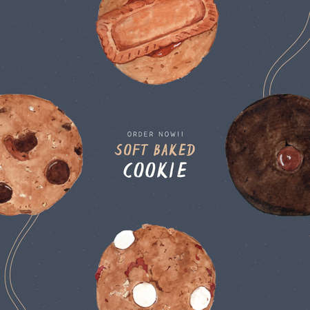 Soft baked cookie, hand draw water color vector. 写真素材