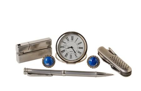 cufflink: A close-up of the mens accessories: watch, knife, lighter, pen, cufflinks. Stock Photo